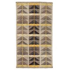 Vintage Scandinavian Modern Rug, Diagonals Carpet by Ingrid Dessau
