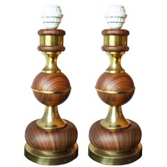 Pair of Wood and Brass Table Lamps from Sweden