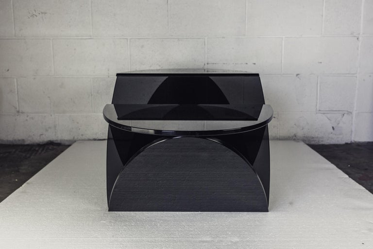 Beveled Del Mar Dos Coffee Table, Smoked Grey Glass, Oval Limited Edition by Mtharu For Sale