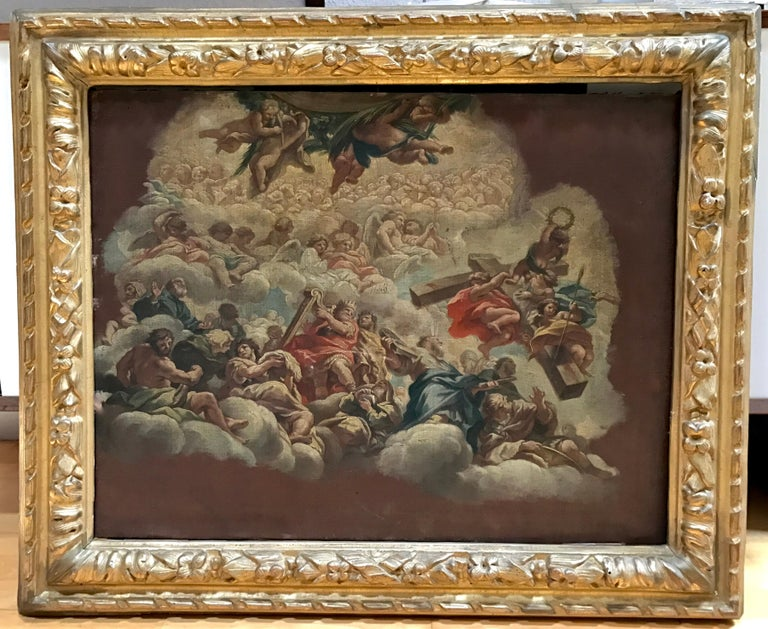 Italian Pietro da Cortona 1630 Fresco Study, Antique Louis XIII Frame For Sale