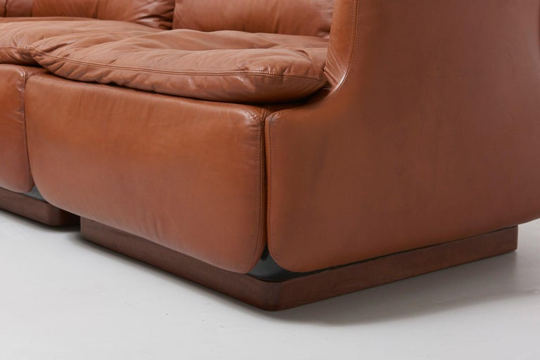 Leather Confidential Sofa by Alberto Rosselli for Saporiti, 1970s For Sale
