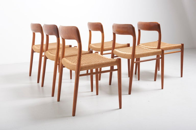 Mid-Century Modern Set Paper Cord Dining Chairs by Niels Møller, Denmark, 1954 For Sale