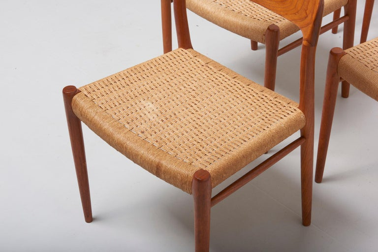 Danish Set Paper Cord Dining Chairs by Niels Møller, Denmark, 1954 For Sale