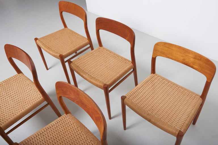 Mid-20th Century Set Paper Cord Dining Chairs by Niels Møller, Denmark, 1954 For Sale