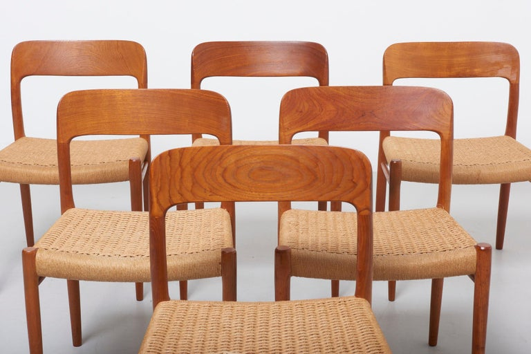 Papercord Set Paper Cord Dining Chairs by Niels Møller, Denmark, 1954 For Sale