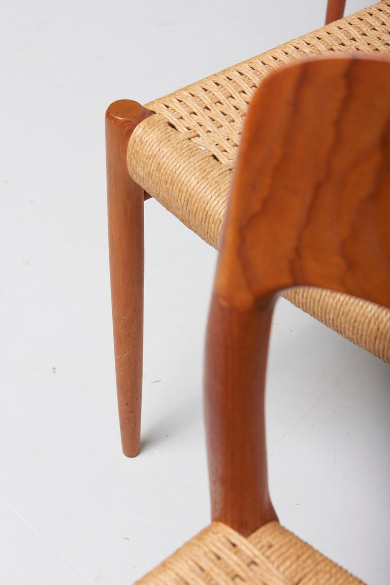 Set Paper Cord Dining Chairs by Niels Møller, Denmark, 1954 For Sale 1