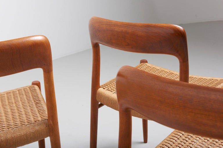Set Paper Cord Dining Chairs by Niels Møller, Denmark, 1954 For Sale 2
