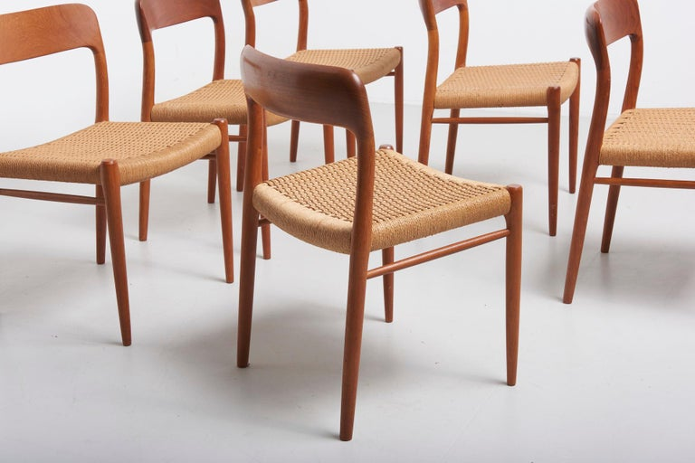 Set Paper Cord Dining Chairs by Niels Møller, Denmark, 1954 For Sale 4