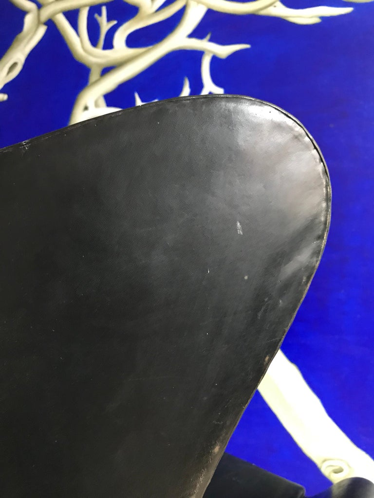 Danish Very Early 1958 - 1960 Arne Jacobsen 3316 Egg Chair in Black Leather For Sale