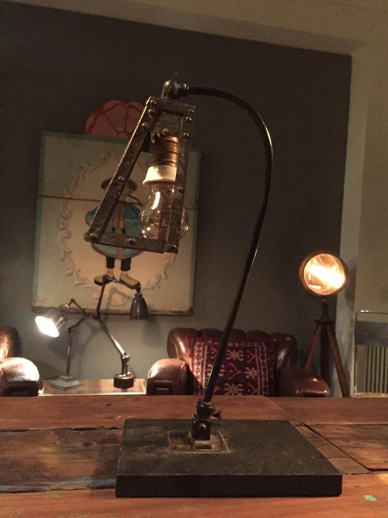 Scratch Built Table Lamp From The Early 20th Century In Iron For Wiring Metal Bulb Holder And One Of A Kind
