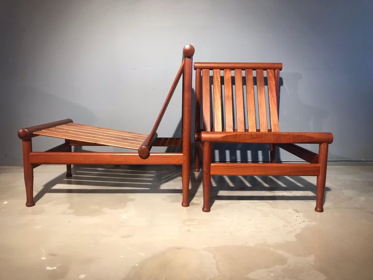 A stunning vintage pair of Kai Lyngfeldt Larsen easy chairs model 501 also known as the Japan chair and made by Søborg Møbler in Søborg Denmark (my town) these chairs are in fantastic original condition with solid joints and no