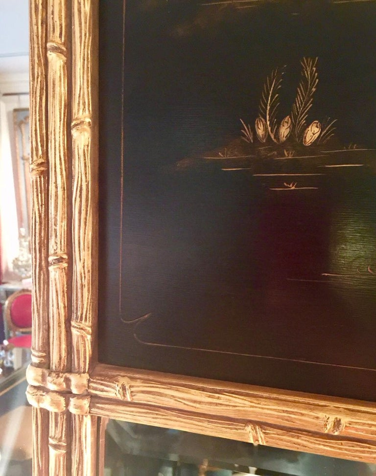Wood French Maison Jansen Chinoiserie Trumeau Mirror, Gilt Bamboo Border For Sale