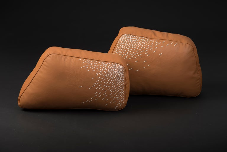 Minimalist Pita Cushion Small, Orange Leather For Sale