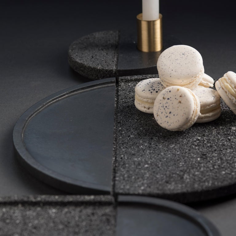 Contemporary Lava Trays Set, Volcanic Rock For Sale