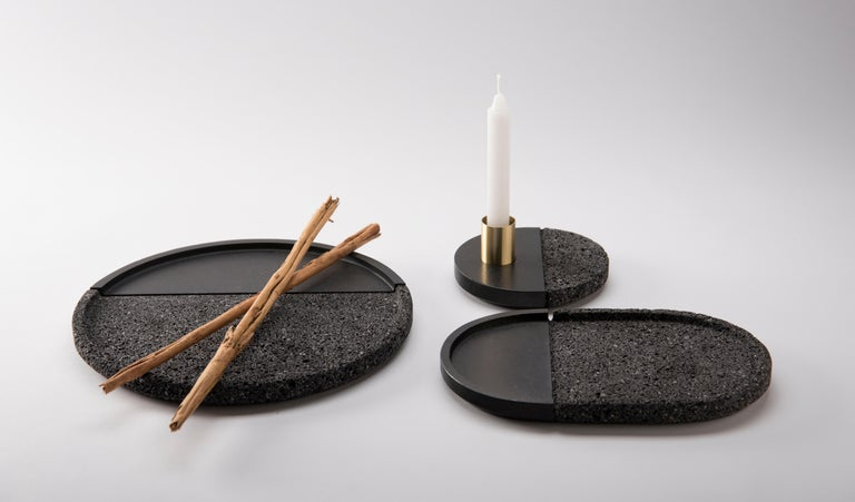 Hand-Crafted Lava Trays Set, Volcanic Rock For Sale