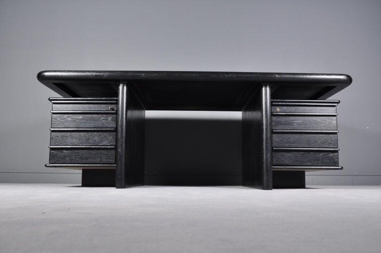 Minimalist Black Oak Floating-Top Executive Desk For Sale