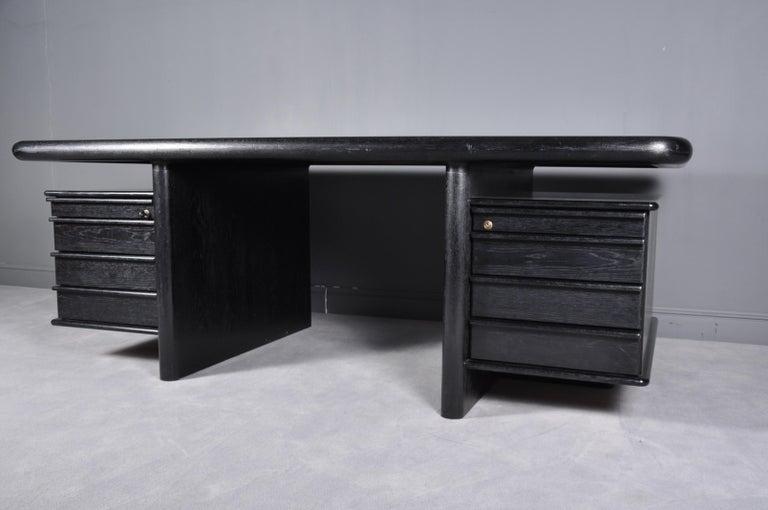 Wood Black Oak Floating-Top Executive Desk For Sale