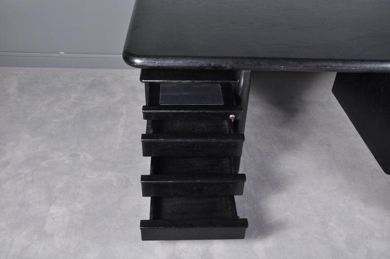 Black Oak Floating-Top Executive Desk For Sale 6