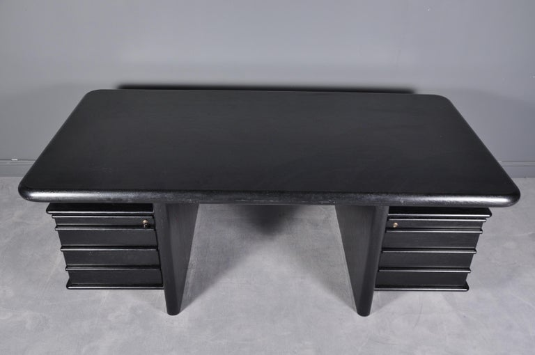 Black Oak Floating-Top Executive Desk For Sale 7