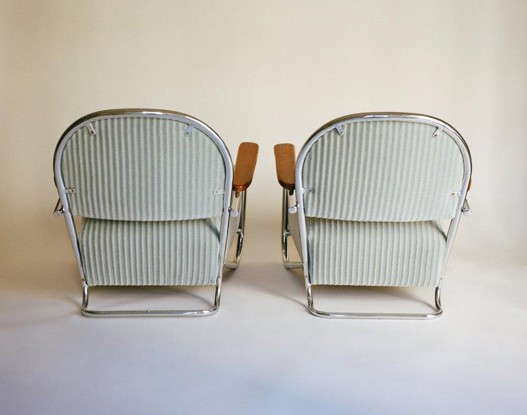 Streamlined Moderne K.E.M. Weber, Pair of Lounge Chairs, 1934 For Sale