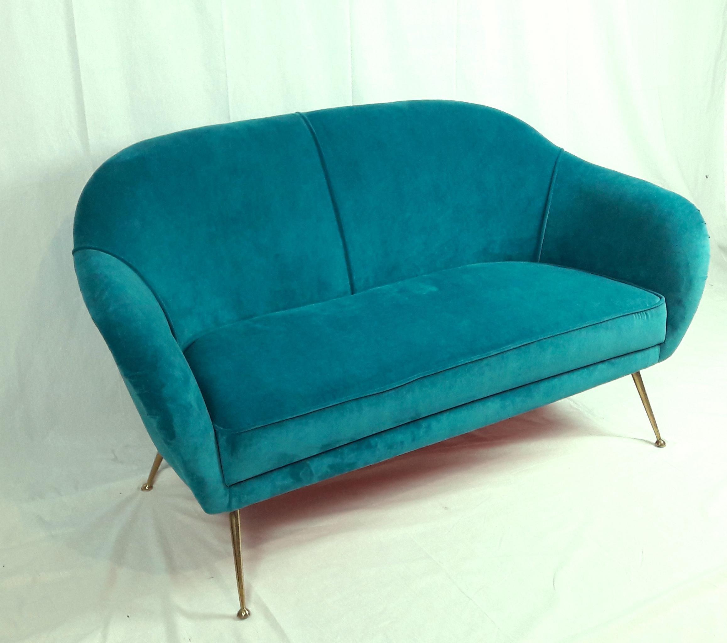 Perfect Mid 20th Century Mid Century Modern Italian Turquoise Velvet Sofa, 1950s  For Sale