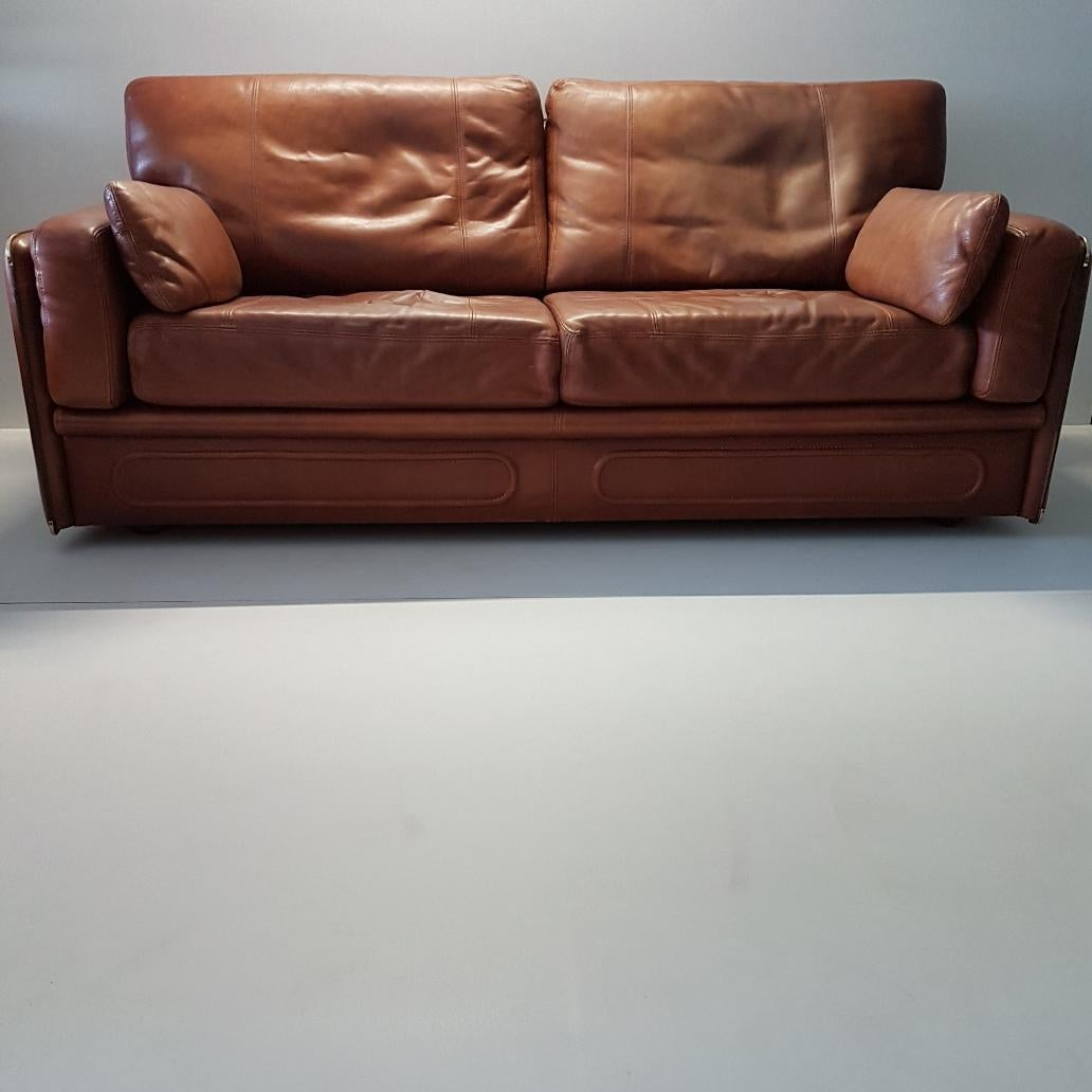 Gentil High Quality Thick Leather Sofa Model Miami By Baxter, 1993 For Sale 3