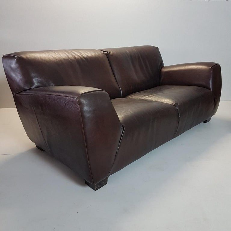 Brown Thick High Quality Leather Two Seat Sofa By Molinari Marked Model