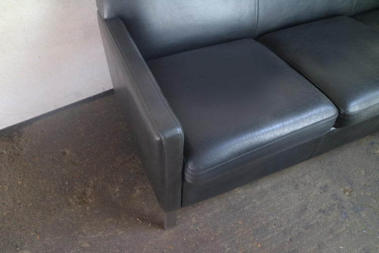 Brushed 1970s Danish Midcentury Leather Sofa For Sale