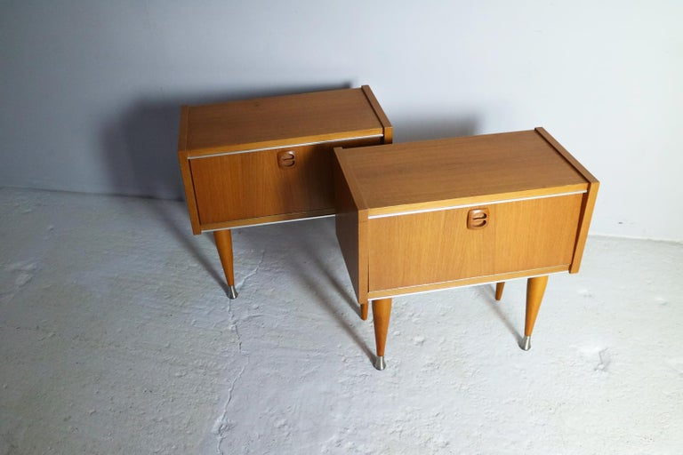 Mid-Century Modern Pair of 1960s Midcentury French Bed Side Cabinets For Sale