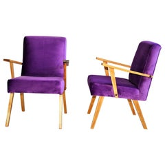 Vintage Armchairs in Purple Velvet from 1970s