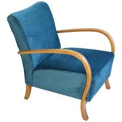 Art Deco Armchair in Blue Marine Velvet from 20th Century