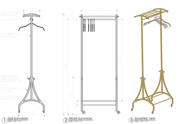 Blackened Luxury Bronze Rolling Clothing and Shoe Rack, in Stock (8) For Sale