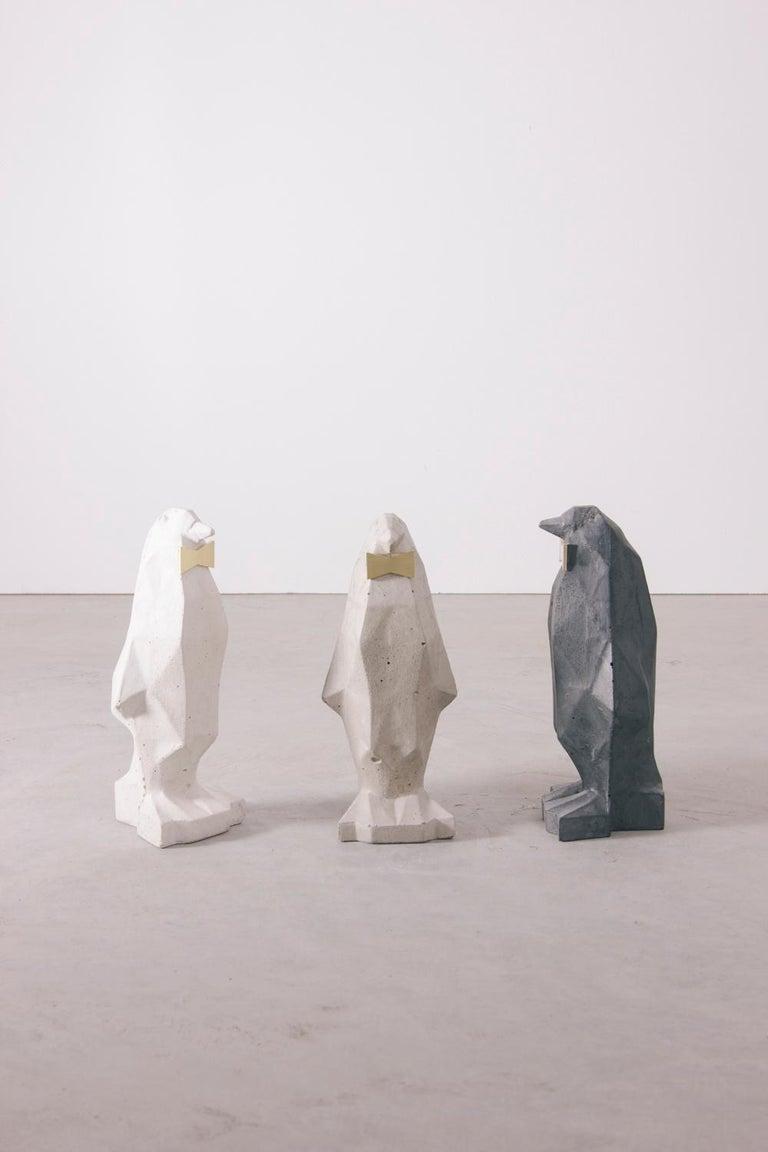 Polished Concrete Penguin, White For Sale