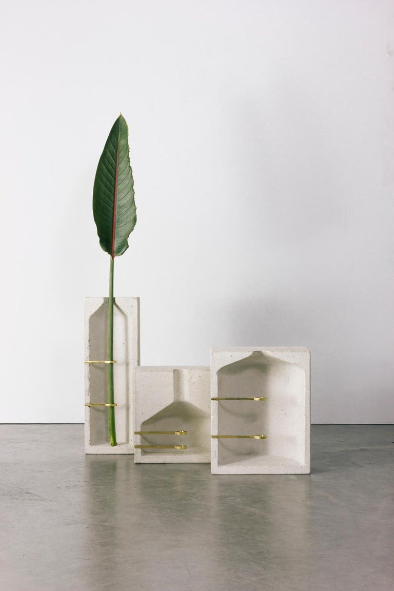 Brutalist Vase L, Ghost Collection, White For Sale