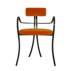 Contemporary Violet Chair with Velvet Seat and Seatback in Orange Color