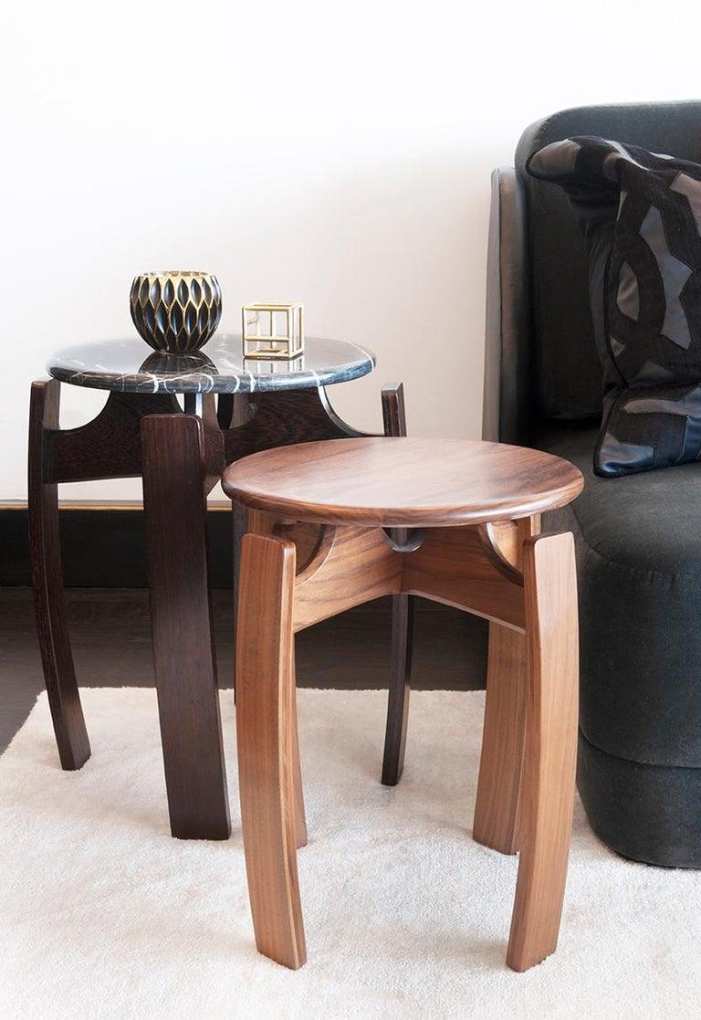 Nymph Wood Side Table Large Version Ebonized Oak With Marble Top - Marble and wood side table