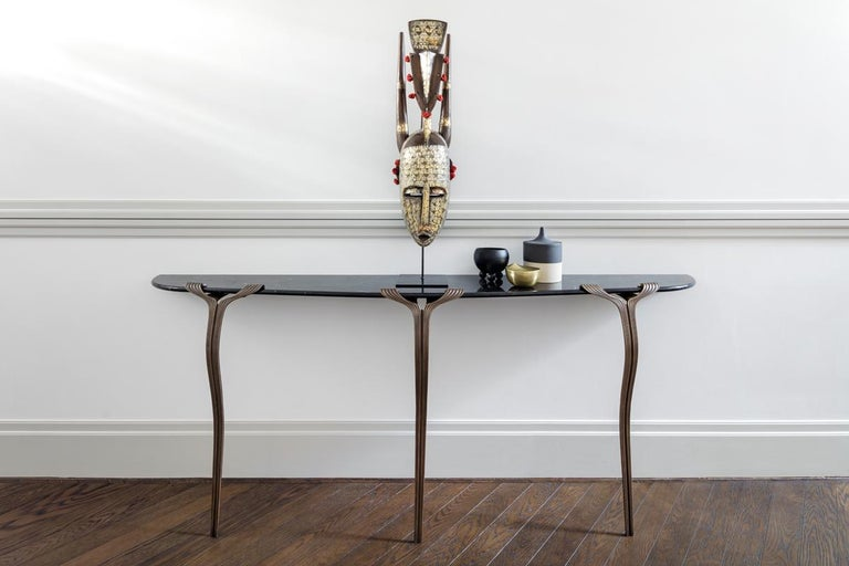 Modern Horta Consle One Leg Contemporary Entry Table, a Nod to Art Deco, Marble, Bronze For Sale