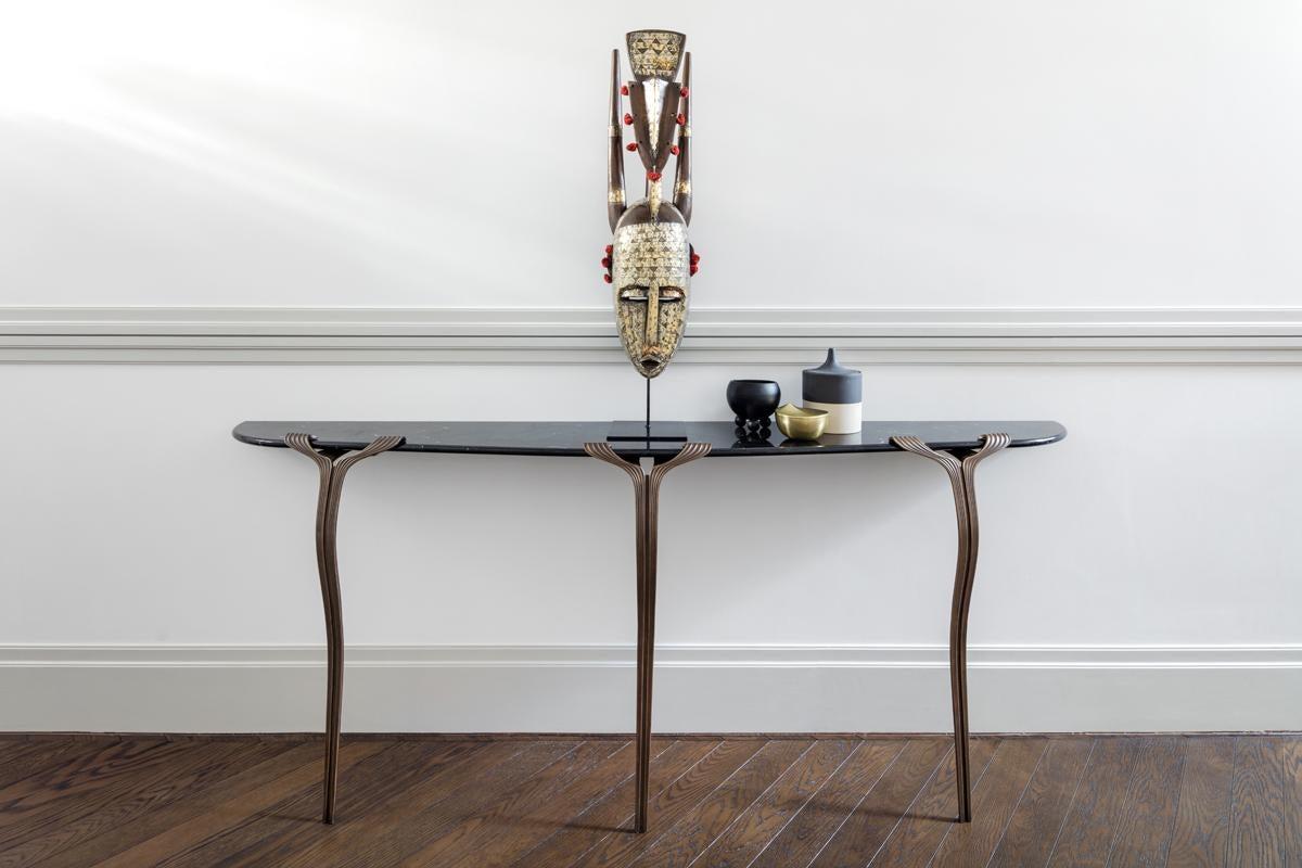 Modern Horta Consle One Leg Contemporary Entry Table, A Nod To Art Deco,  Marble