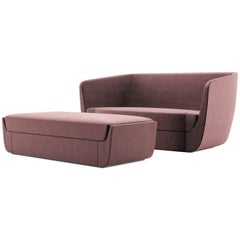 Clasp Loveseat & Ottoman, Contemporary Sofa Set Upholstered in Holly Hunt Velvet