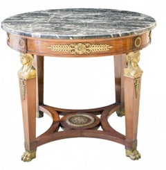 Marble Bronze Mahogany Bouillotte Table