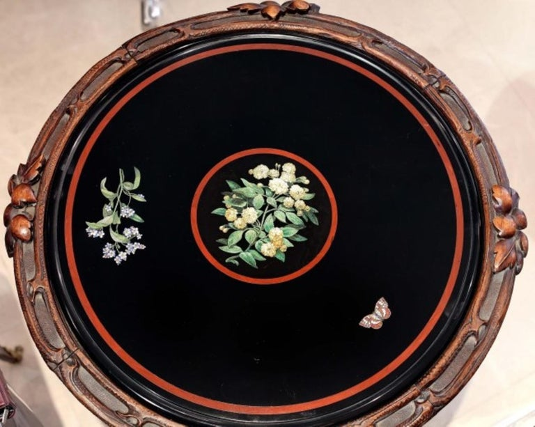 Micromosaic Black Marble Circular Table,  Rome, circa 1850 In Good Condition For Sale In Palm Beach, FL
