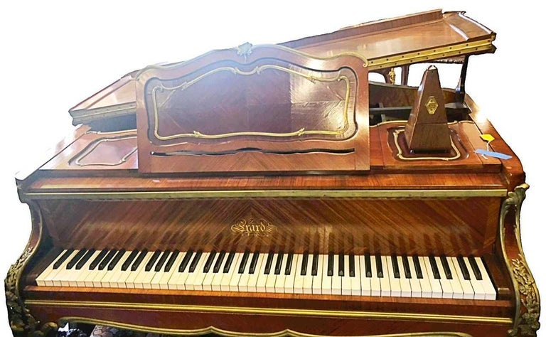 Francois Linke (1855-1946)  A very fine Louis XV style gilt bronze mounted kingwood piano,late 19th century , signed Francois Linke, stamped Joseph-Emmanuel Zwiener,  movement by Erard  The quarter veneered case inlaid with cartouche panels