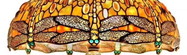 Jeweled Drop Head Dragonfly by Tiffany Studios, Stamped, circa 1910 In Good Condition For Sale In Palm Beach, FL