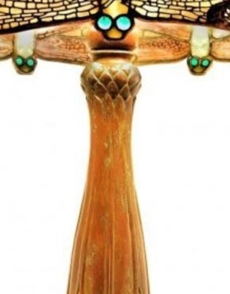 Jeweled Drop Head Dragonfly by Tiffany Studios, Stamped, circa 1910 For Sale 1