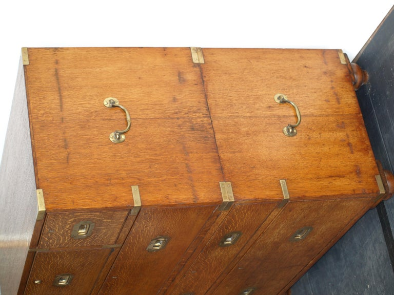 Mid-19th Century Oak Brass Bound Military/Campaign Chest with Secretaire Drawer For Sale 2