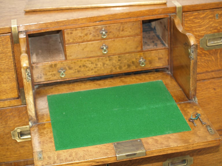 Mid-19th Century Oak Brass Bound Military/Campaign Chest with Secretaire Drawer For Sale 7