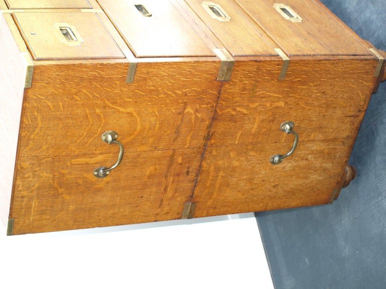English Mid-19th Century Oak Brass Bound Military/Campaign Chest with Secretaire Drawer For Sale