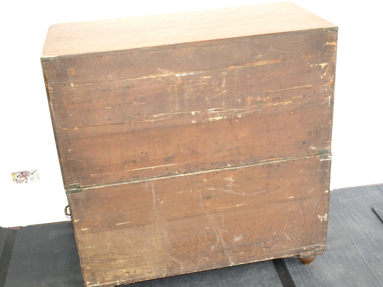 Mid-19th Century Oak Brass Bound Military/Campaign Chest with Secretaire Drawer For Sale 3