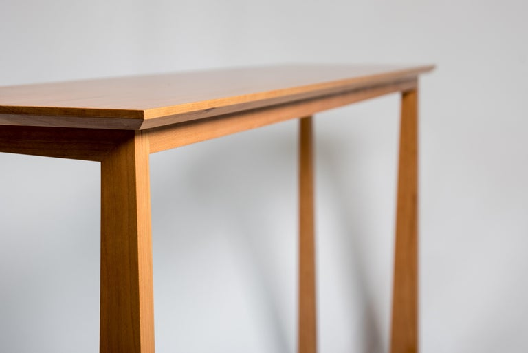 Contemporary Tall Narrow Modern Cherry Westport Pub Table with Splined Miters and Trestle For Sale