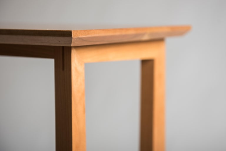 Tall Narrow Modern Cherry Westport Pub Table with Splined Miters and Trestle For Sale 1